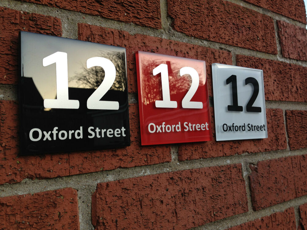 modern house sign plaque door number street road glass. Black Bedroom Furniture Sets. Home Design Ideas