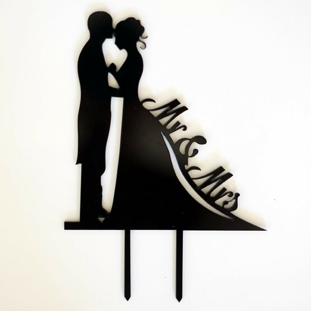 MR And MRS SILHOUETTE Black Wedding Cake Topper Laser Cut