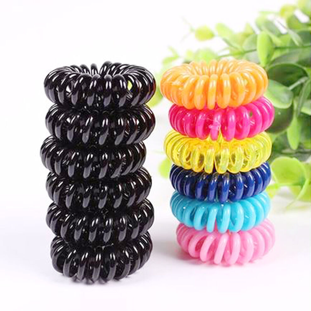 Wire Bands: Lots 10x Elastic Plastic Phone Wire Band Hair Tie Ponytail