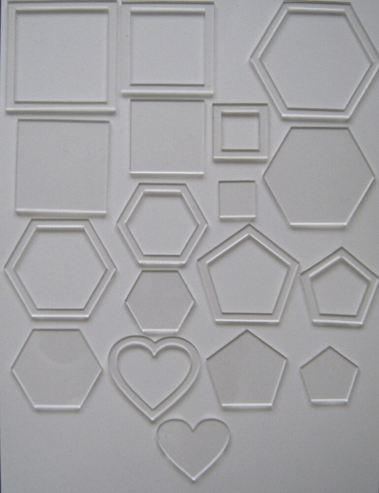 18 clear ACRYLIC PLASTIC TEMPLATES/STENCILS patchwork. quilting, applique #03 eBay