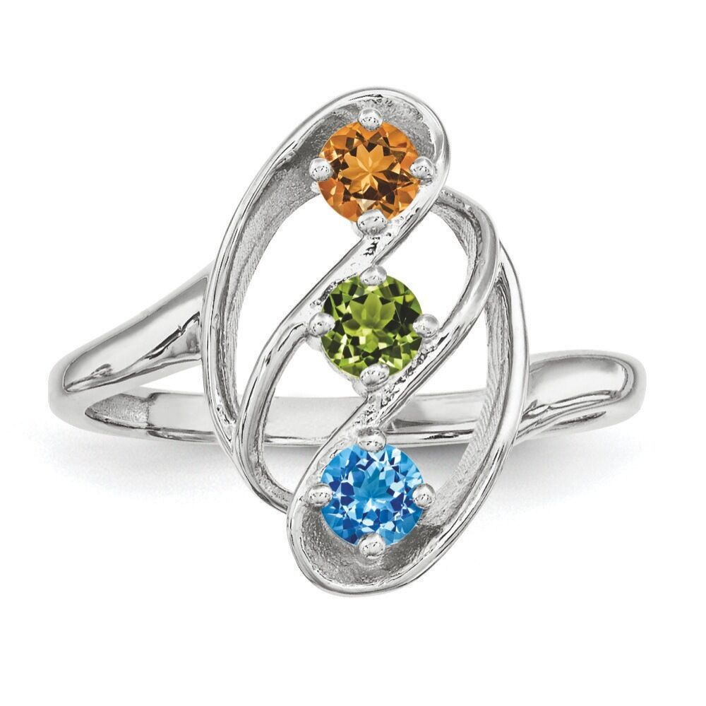 Mother's Jewelry Sterling Silver 1-7 Round Birthstones ...