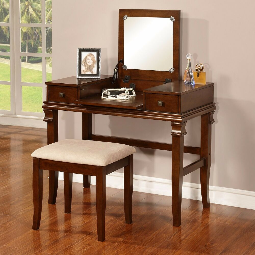 Vanity set flip top mirror walnut wood stool 2 drawers for Vanity table set