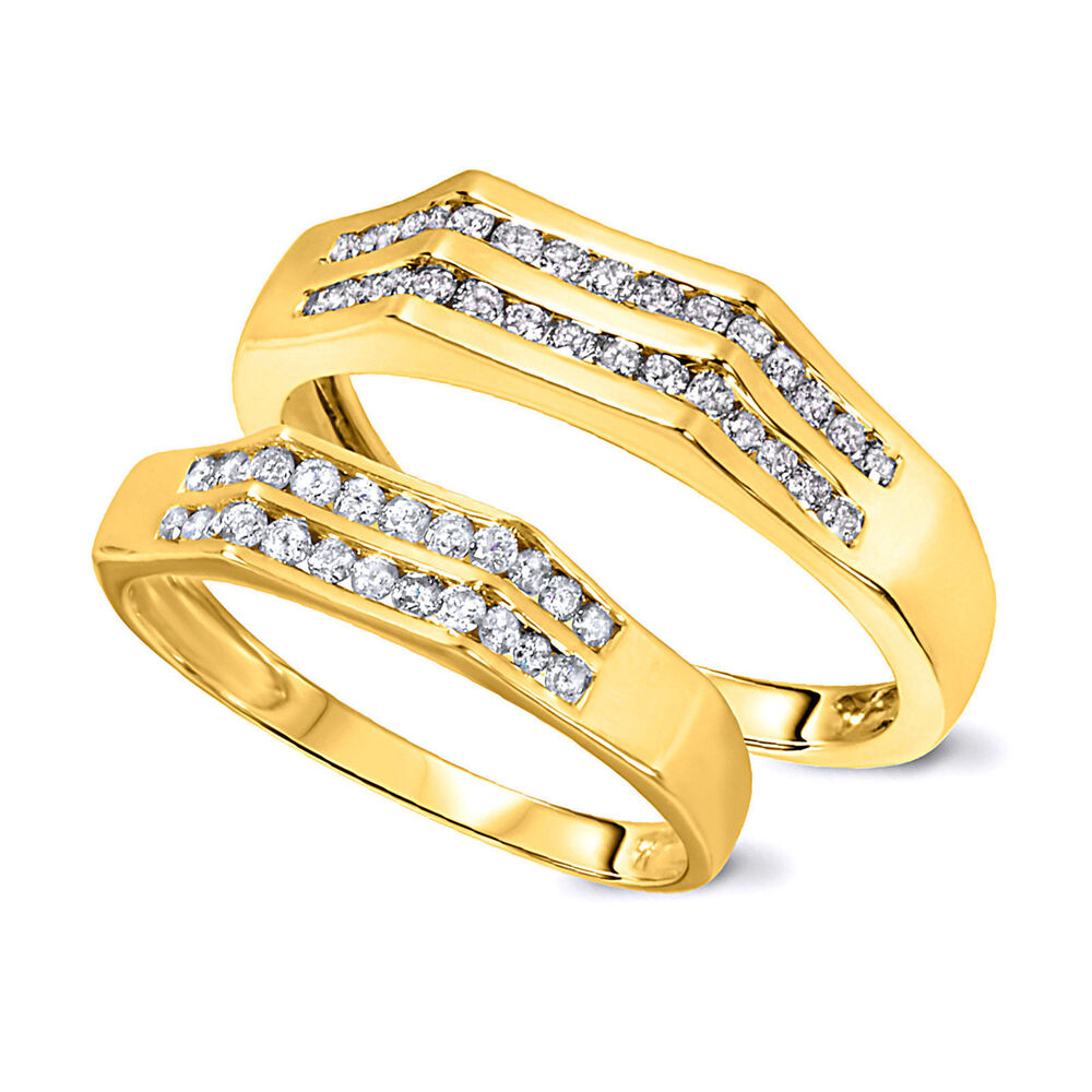 yellow gold wedding rings sets for his and her 1 2 carat his and hers wedding band set ring 10k 1519