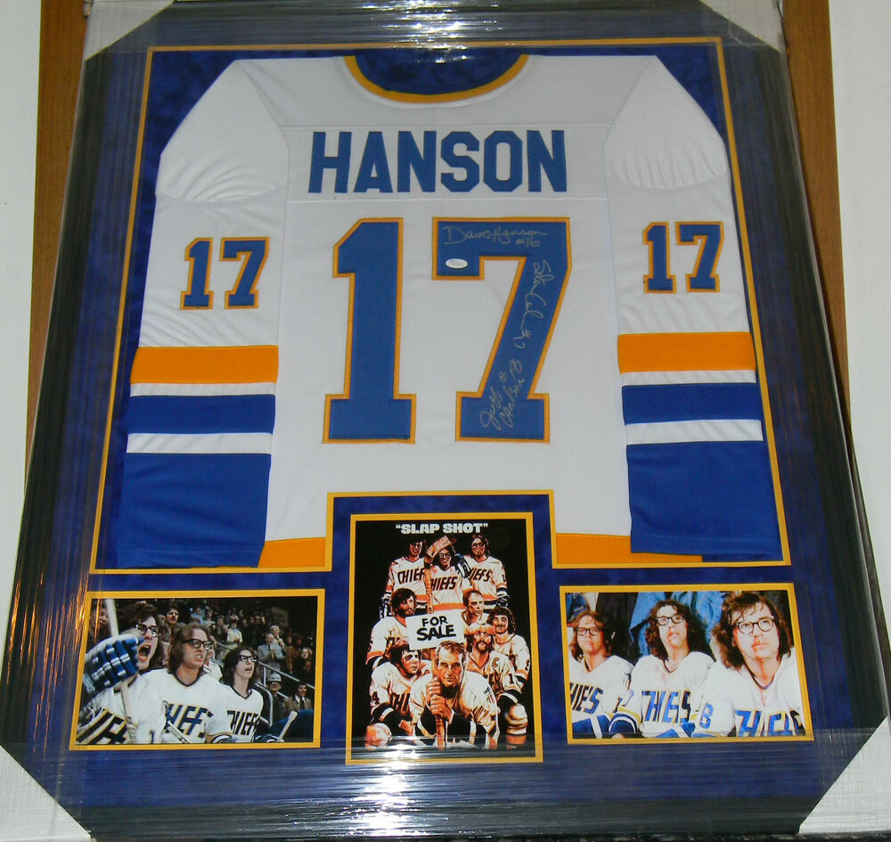 Slap shot the hanson brothers auto signed jersey framed for Hanson motors used cars
