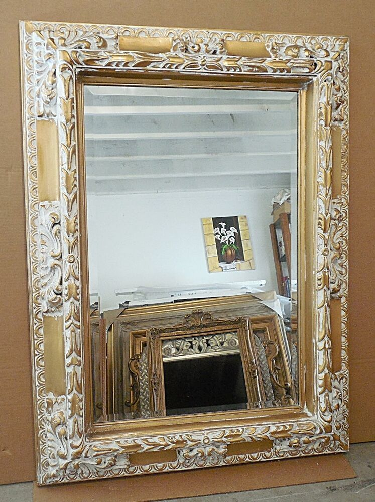 Large solid wood 36x48 rectangle beveled framed wall for Wood framed mirrors