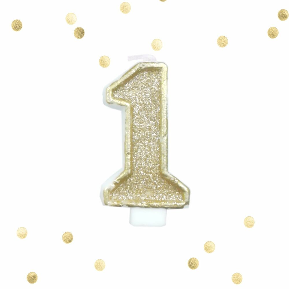 Light Gold Glitter 1st Birthday Candle Number 1 Gold White One Smash Cake Topper