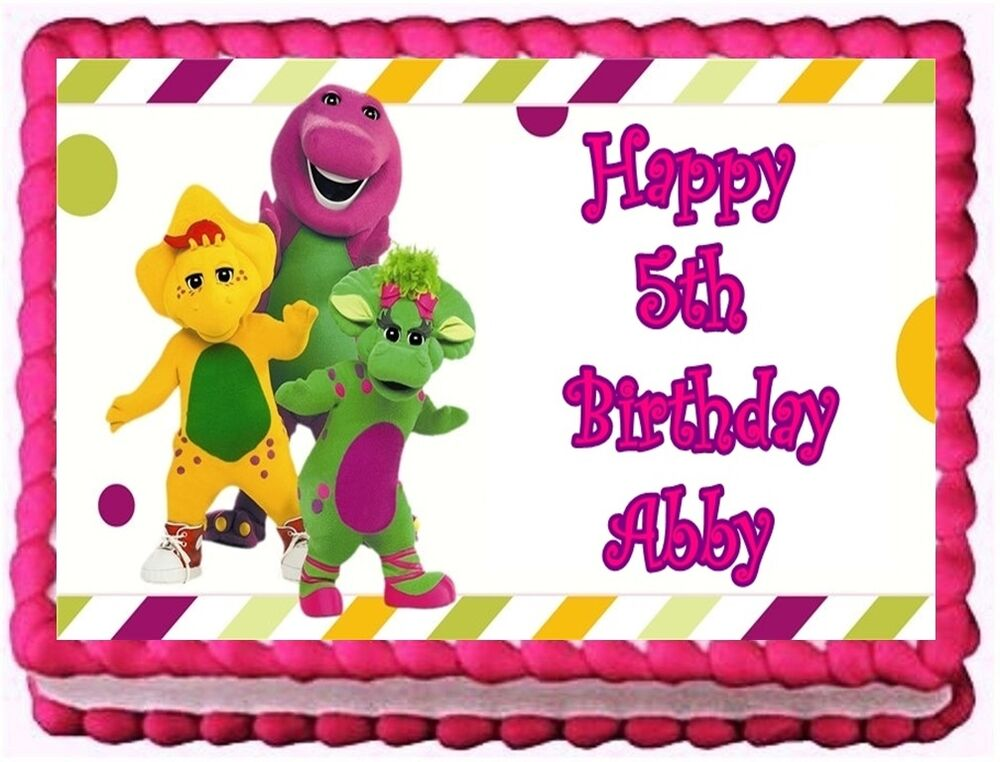 Edible Cake Top Decorations : BARNEY AND FRIENDS EDIBLE CAKE TOPPER BIRTHDAY DECORATIONS ...
