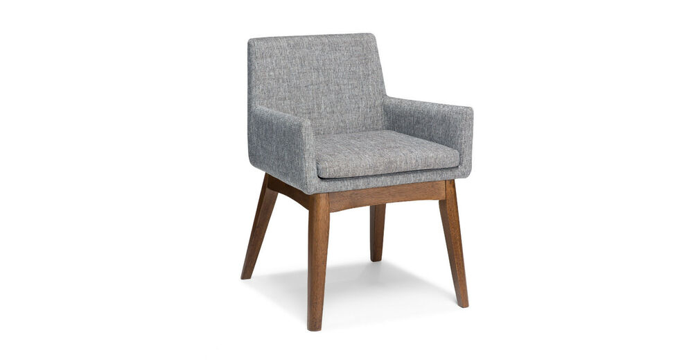 Grey brown dining chairs low back with arms in walnut for Modern low back dining chairs