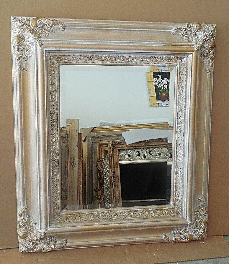 Large solid wood 27x31 rectangle beveled framed wall for Large wall mirror wood frame
