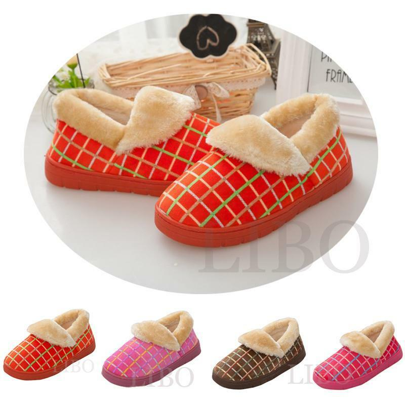 Women Plush Slippers Winter Warm Plaids Home Bedroom