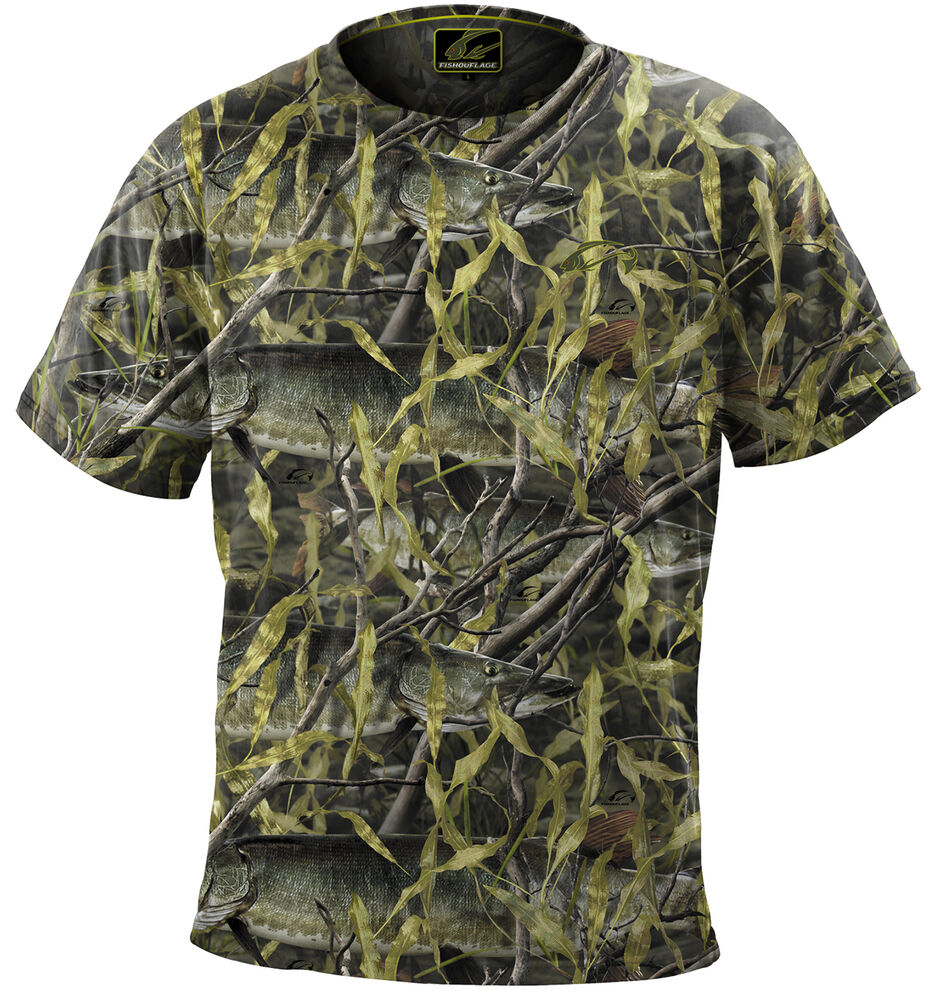 Fishouflage performance 100 polyester musky fishing camo for Polyester fishing shirts