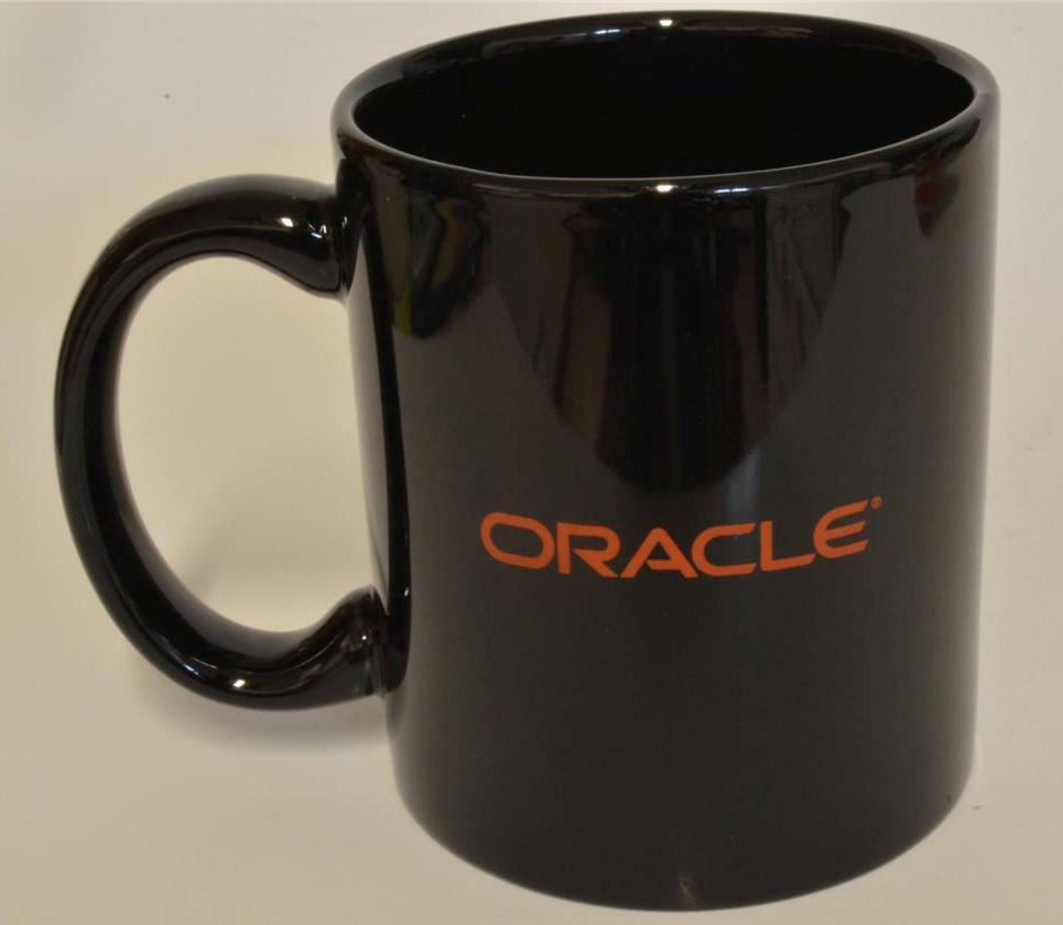 Oracle Black Ceramic Coffee Cup Mug Advertising New In