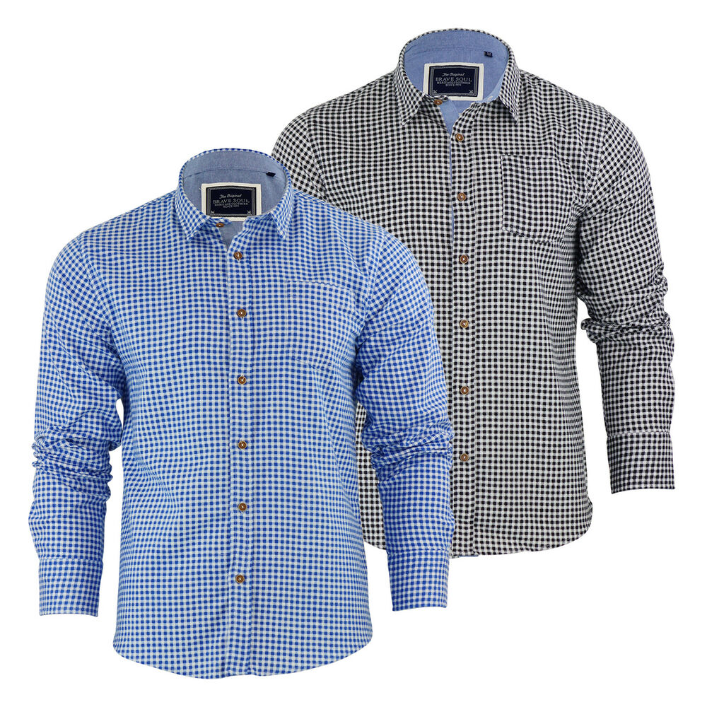 Mens check shirt brave soul blaze flannel brushed cotton for Mens casual long sleeve shirts