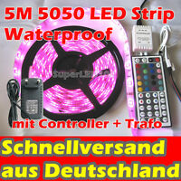 1M - 10M 5050 LED Strip Streifen Band Lichterkette RGB wasserdicht 44K-RC Trafo