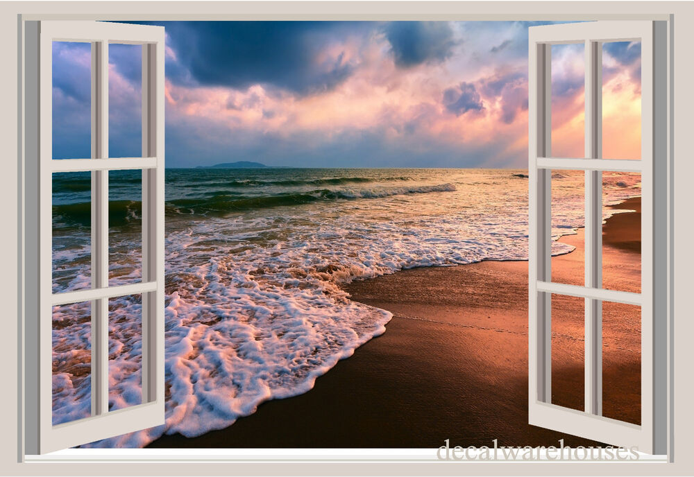 Ocean waves beach sand window view repositionable color for Beach view wall mural