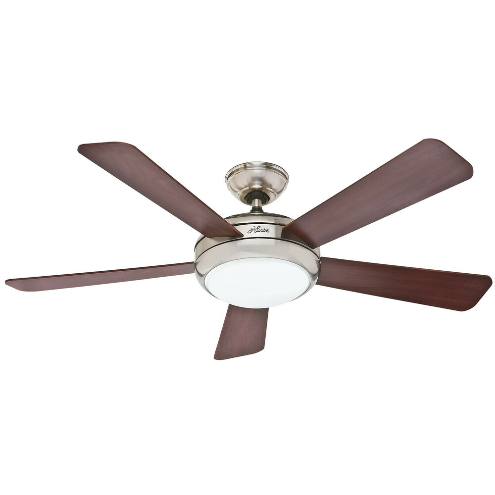 "Lighting Fans: HUNTER 52"" Palermo ""Brushed Nickel"" Ceiling Fan With Light"