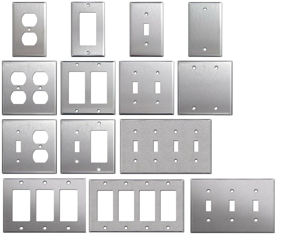 Metal Electrical Outlet Covers Oversized Outlet Covers: Brushed Satin Nickel Stainless Steel Wall Covers Switch