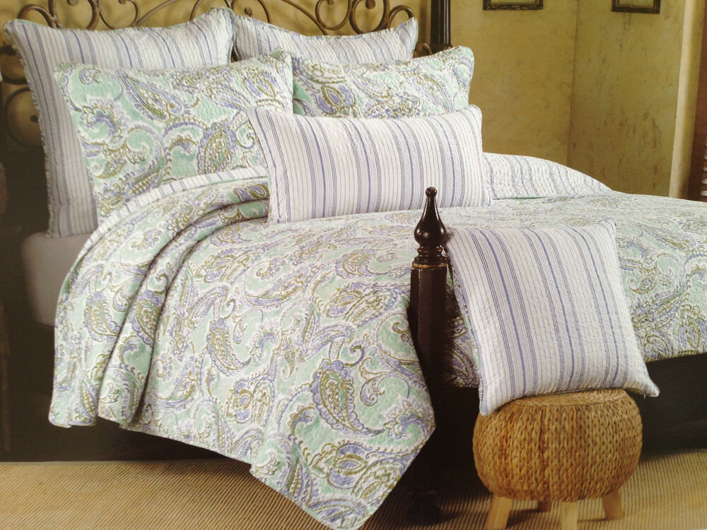 French Country Paisley Full Queen Quilt Set Mint Green Aqua Blue White 3pc Nip Ebay