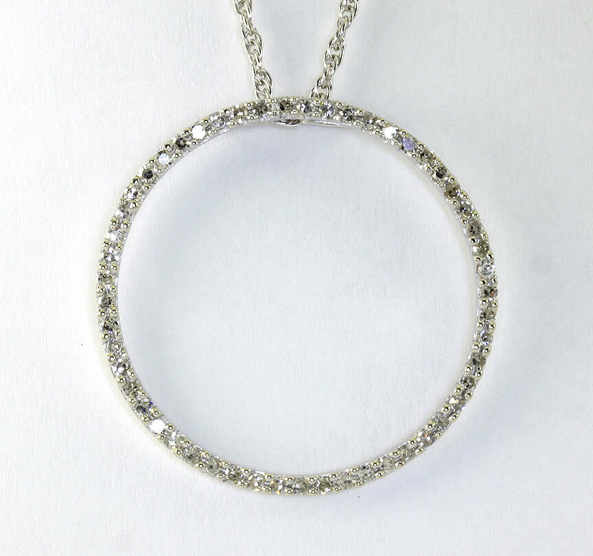 circle of pendant necklace 14k white gold 52