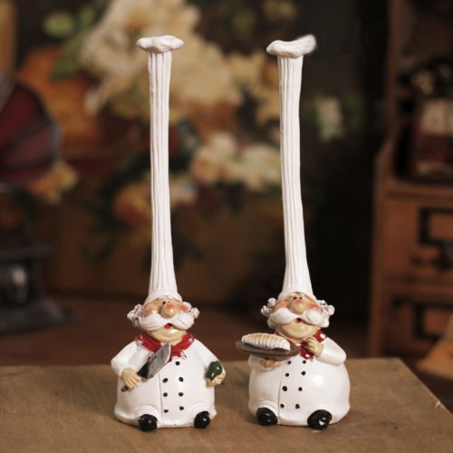 Chef Decor For Kitchen: 2pcs Resin French Fat Chef Statue Top Hat Chef Figurine