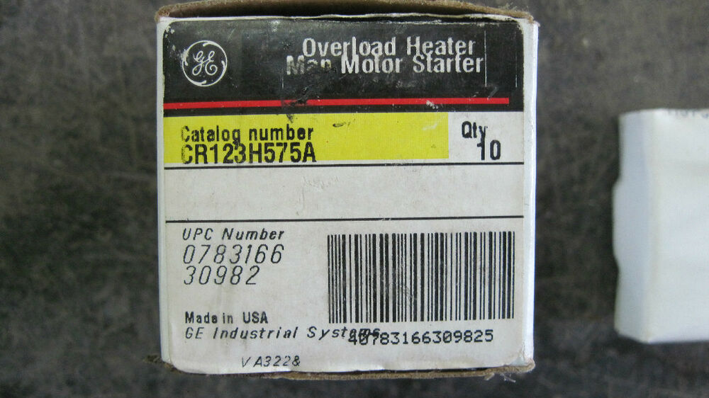 Nib ge overload heater manual motor starter cr123h575a ebay for Ge commercial motors 5kcp39fg