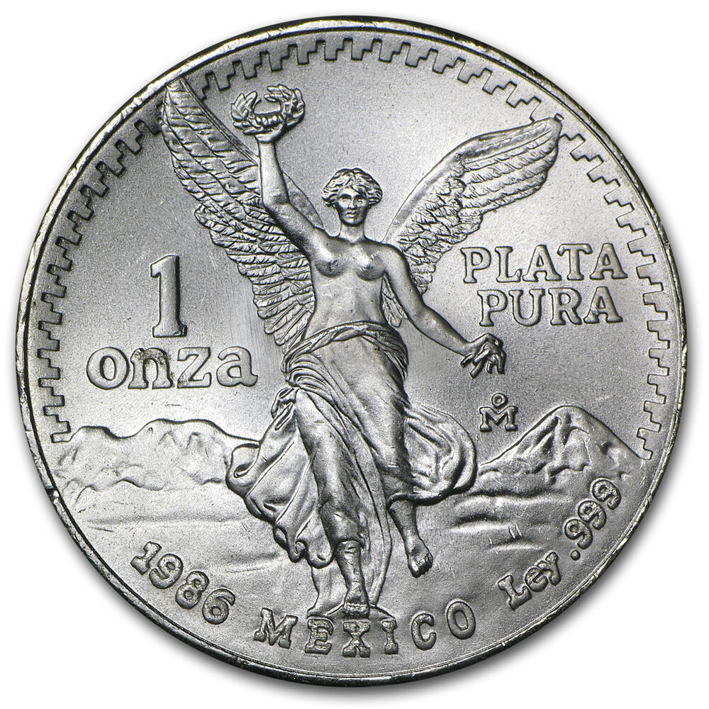 1986 1 Oz Silver Mexican Libertad Coin Brilliant