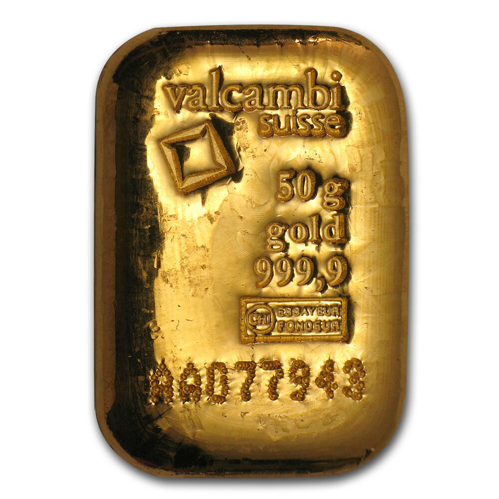 50 Gram Gold Bar Valcambi Poured W Assay Sku 83921