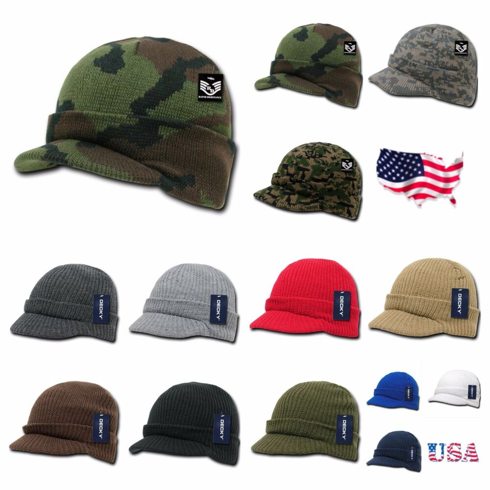 Men Visor Beanie Camo Ball Cap Hat Knit Ski Hunting Army ...