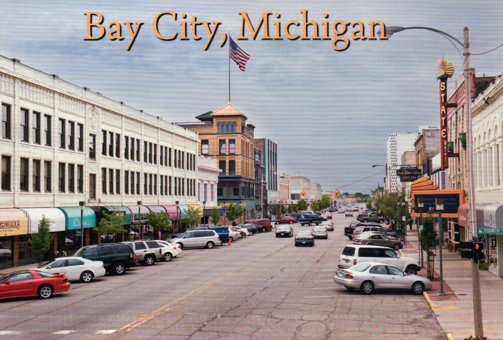 washington avenue bay city michigan state movie theater street scene postcard ebay. Black Bedroom Furniture Sets. Home Design Ideas