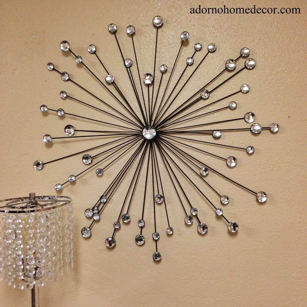Modern metal sunburst crystal wall decor rustic crystal Crystal home decor