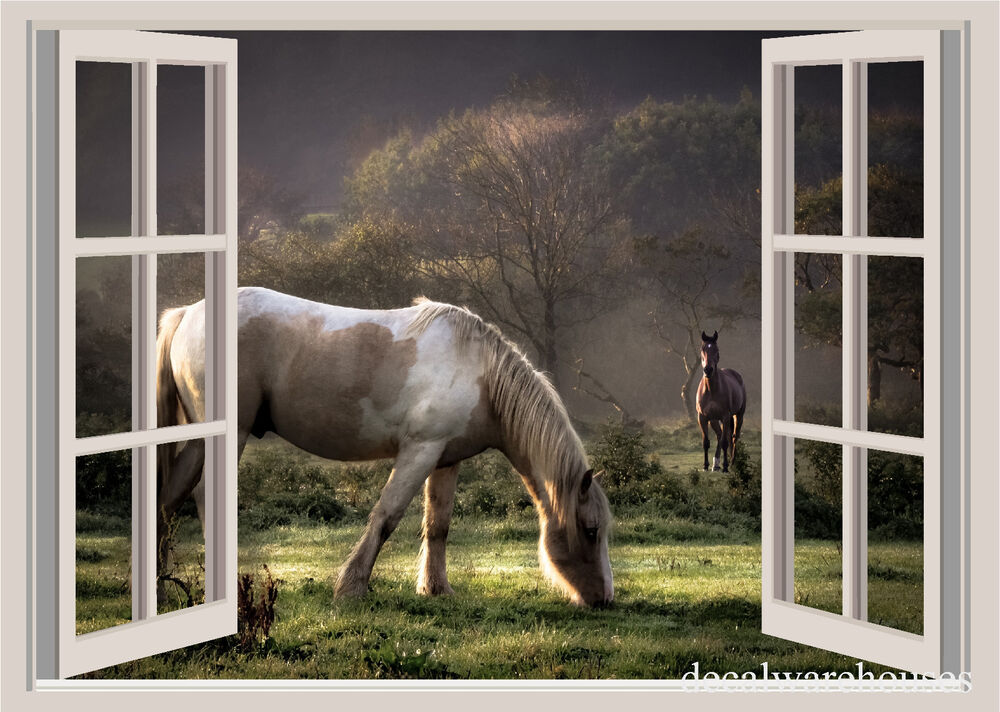 Beautiful horses window view repositionable color wall for Window horses