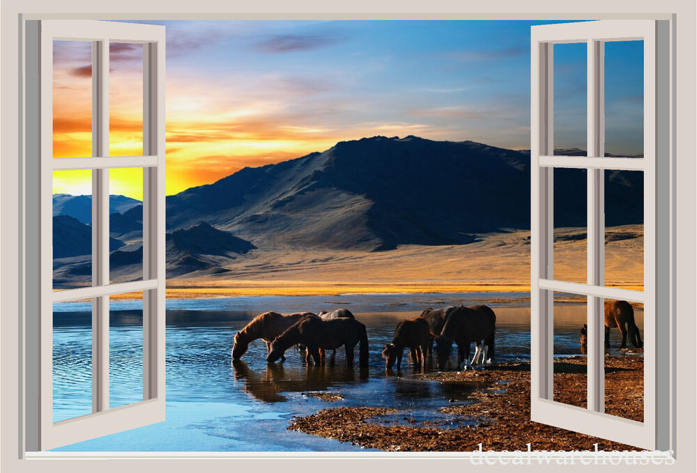 Horses Sunset Mountains Window View Repositionable Wall Sticker Wall Mural Ebay