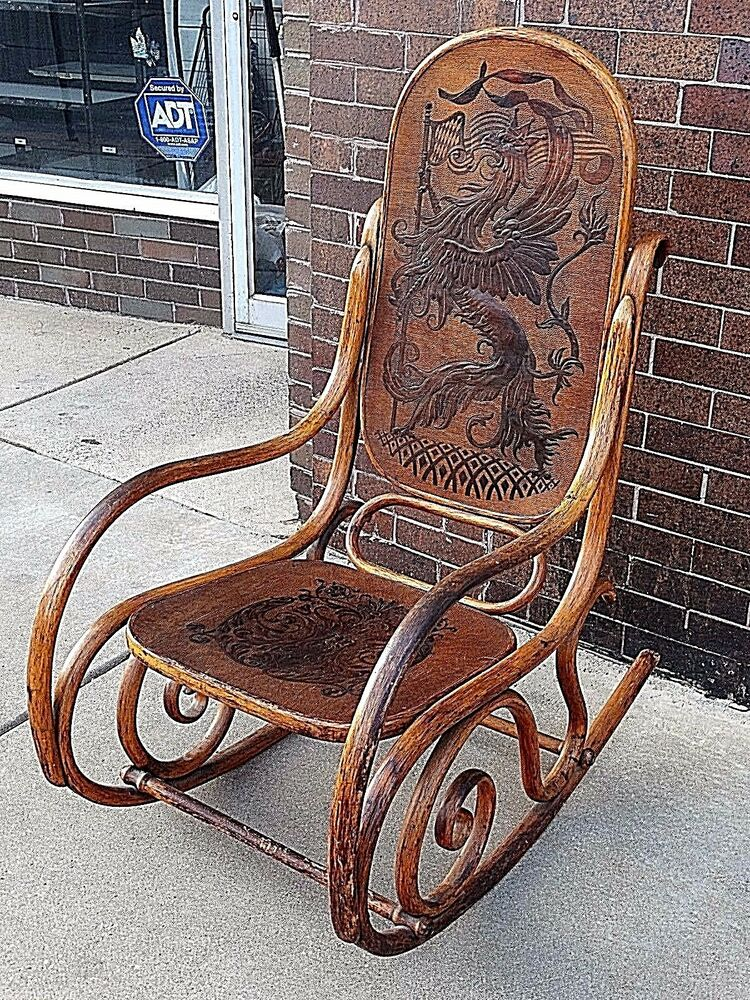 Scotish Antique Victorian Code Of Arms Bent Wood Rocking Chair With Dragon Motif Ebay