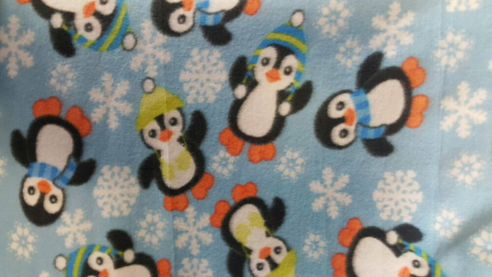 Penguins fleece fabric by the yard ebay for Children s flannel fabric by the yard