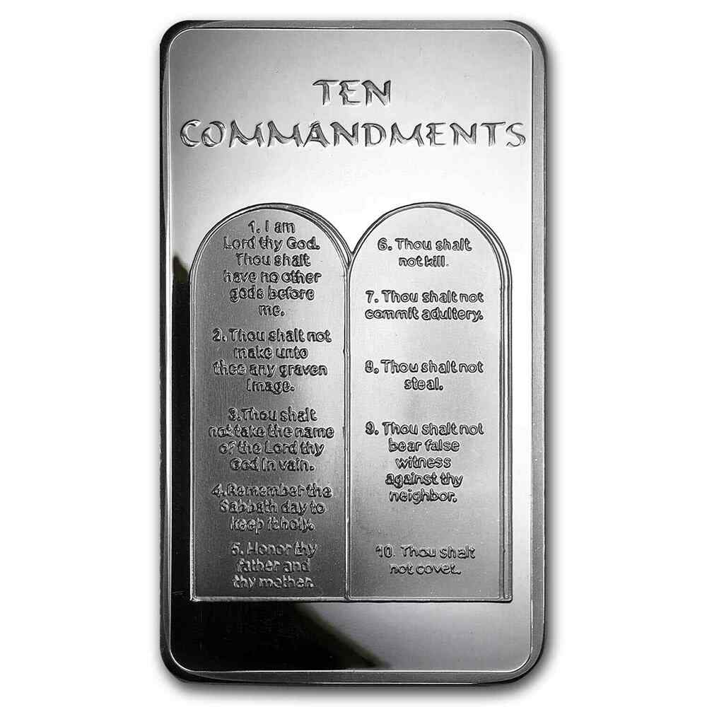 10 Oz Ten Commandments Silver Bar 10 Commandments Silver
