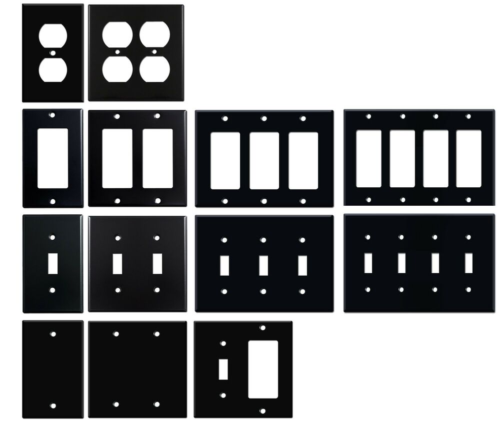 Matte Black Electrical Metal Wall Plate Covers Switch
