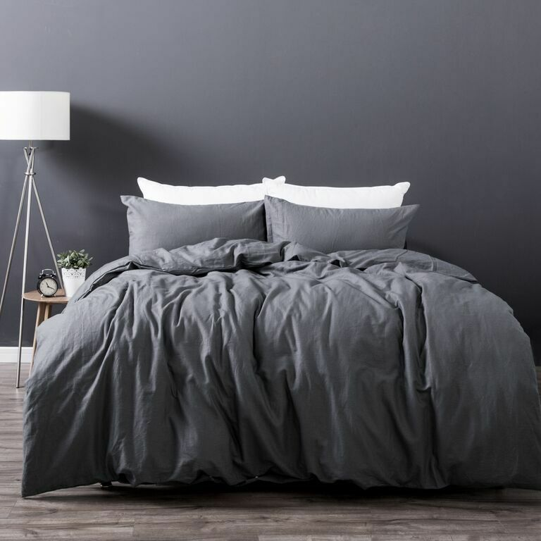 Slate Grey Linen Cotton Vintage Wash Quilt Doona Cover Set