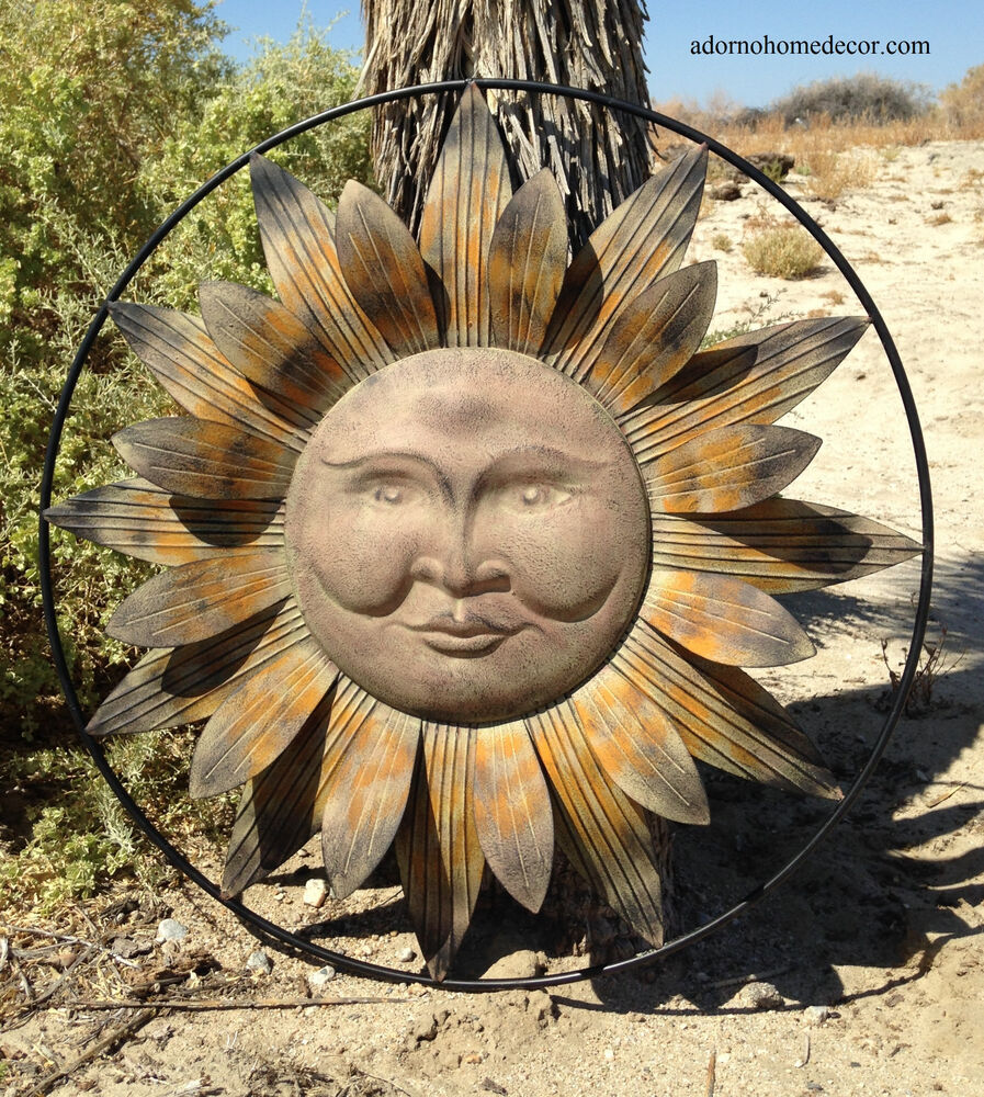 Metal Sun Wall Decor Flower Rustic Garden Art Indoor