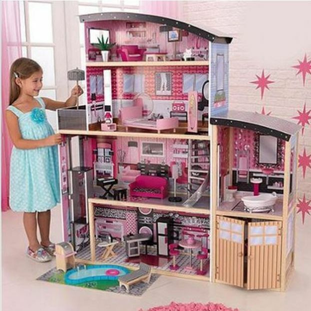 Barbie Size Wooden Dollhouse W Furniture Girls Playhouse Doll Play House Gift Ebay