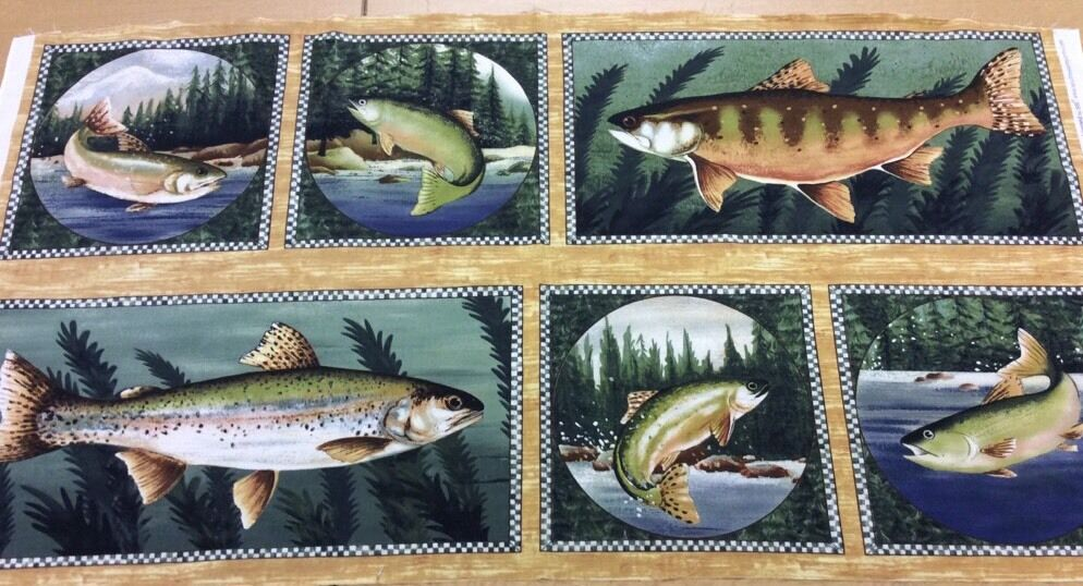 Fish quilting cotton fabric panel wall hanging pine for Fish fabric for quilting