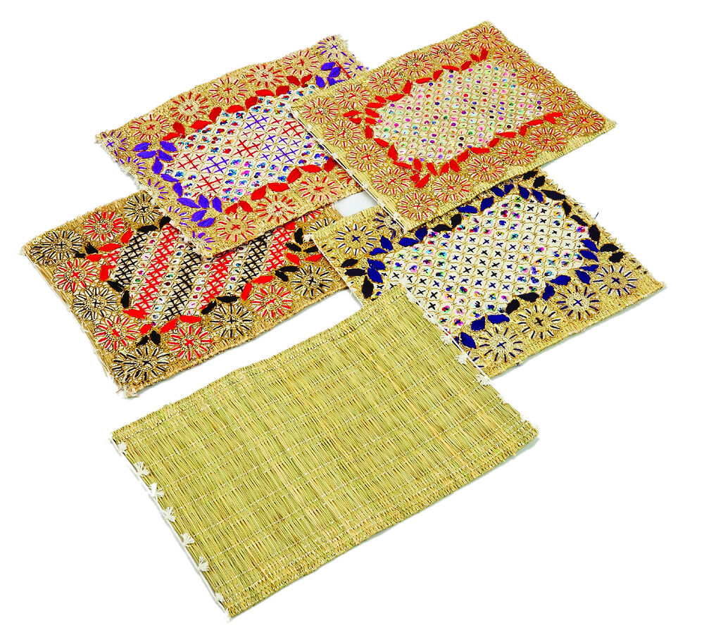 Moroccan handmade decorated plain straw table place mat for Table placemats