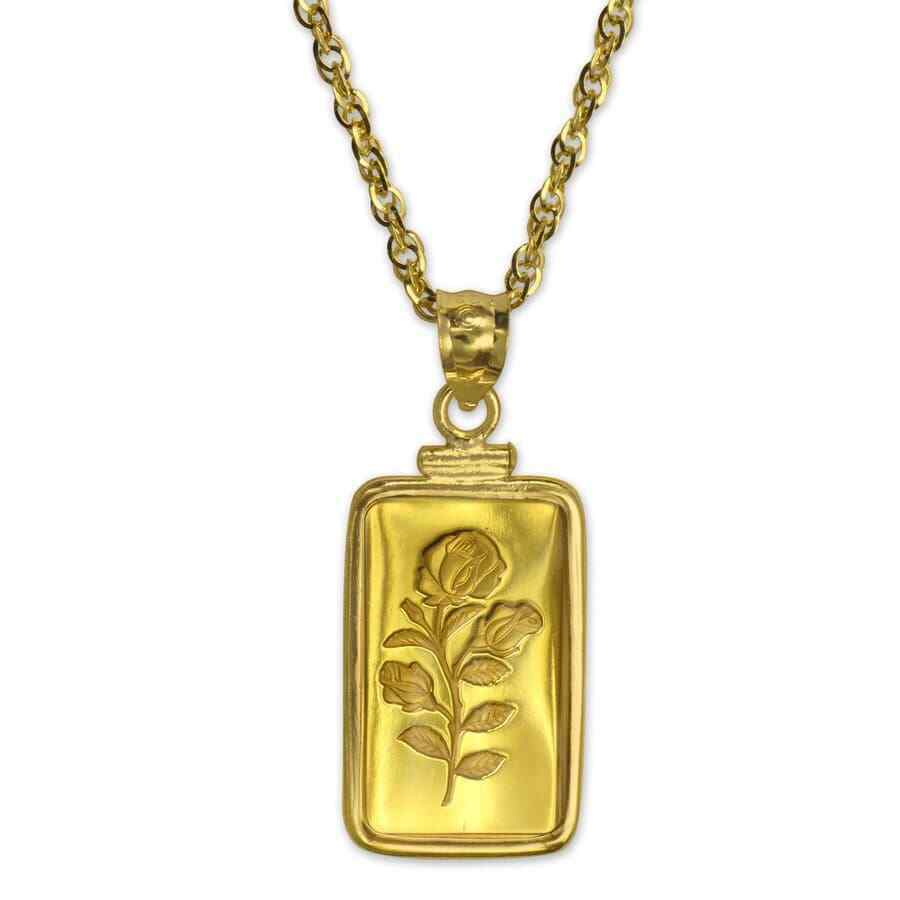 5 Gram Gold Pendant Pamp Suisse Rosa W Chain Sku