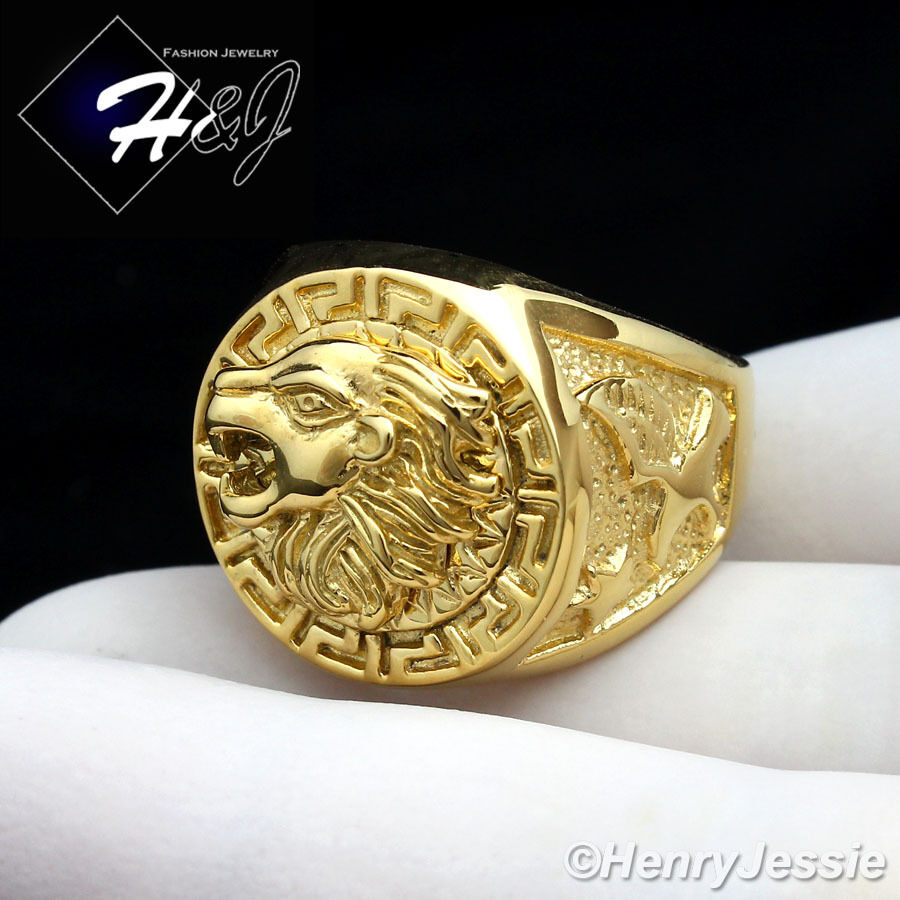 Men S Stainless Steel Gold Lion Head Eagle Greek Key Round