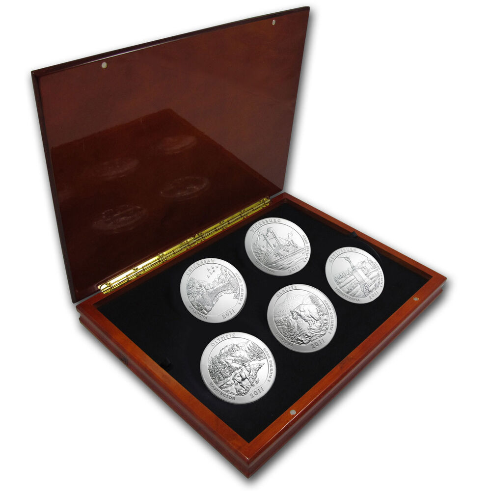 2011 5 Oz Silver America The Beautiful Complete 5 Coin Set