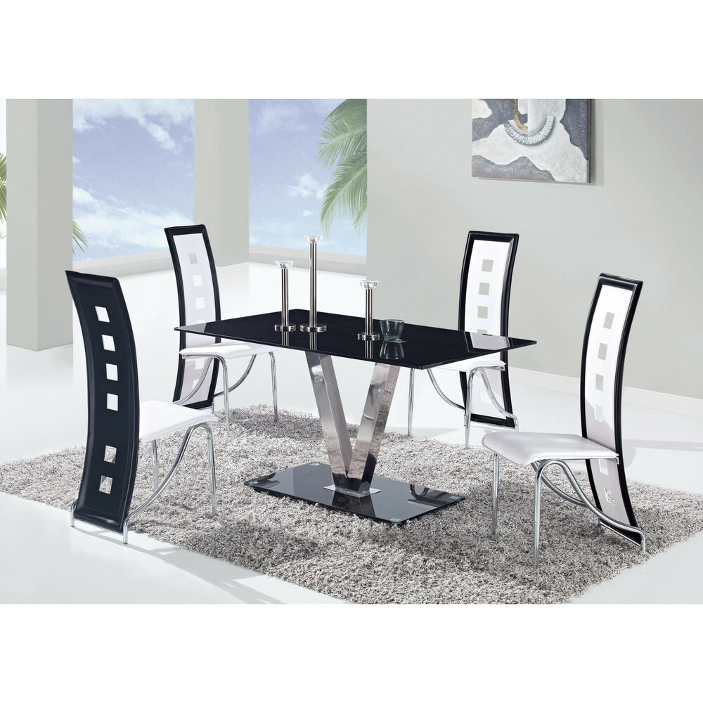 5 pc dining set glass top table black white chairs modern for Glass dining table set