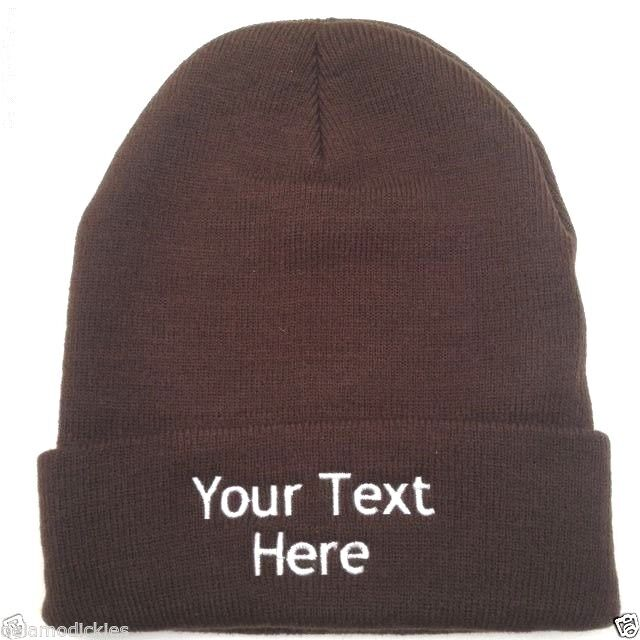741a7d8f0cf Details about Custom (Personalized) Embroidered Name Beanie Knit Cap w Cuff  Dark Brown