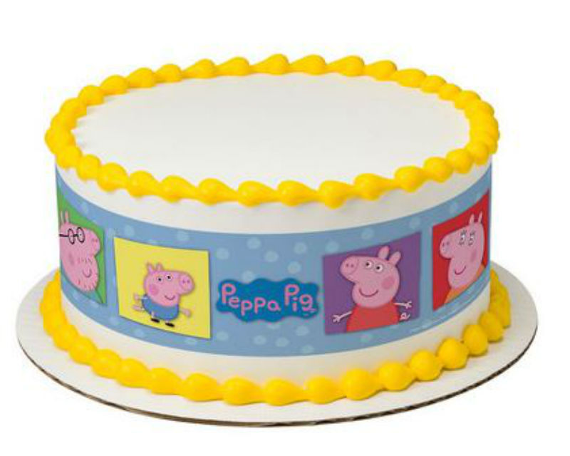 Peppa Pig edible image cake strips frosting topper sides ...
