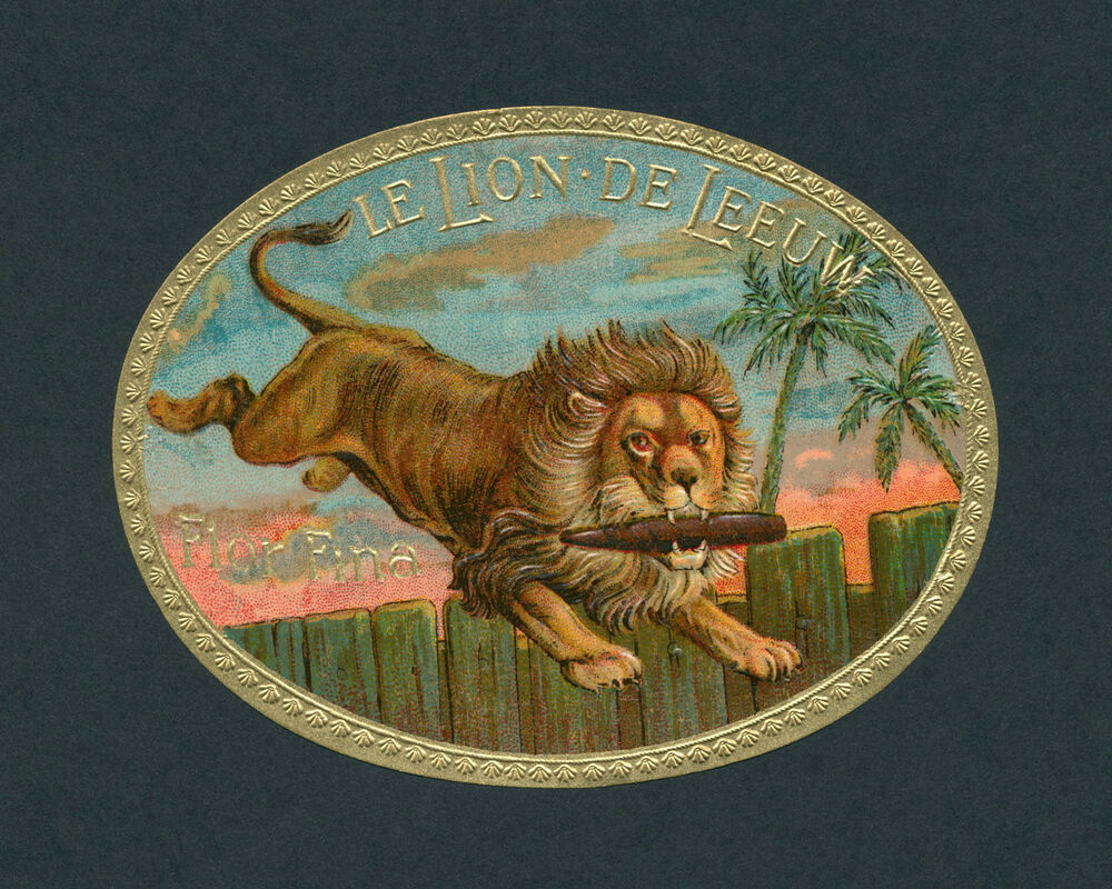 Box Label: Lion Leaping Over Fence Original Antique Cigar Box Label