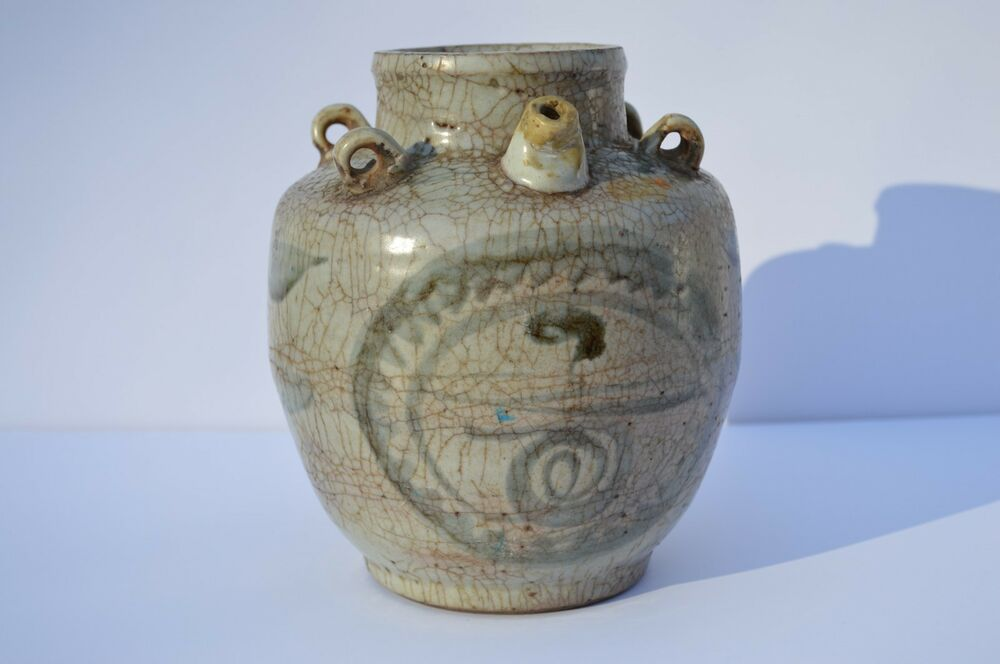 Antique Beautiful Chinese Korean 4 Loops A Spout Hand Painted Pottery Vase Ebay