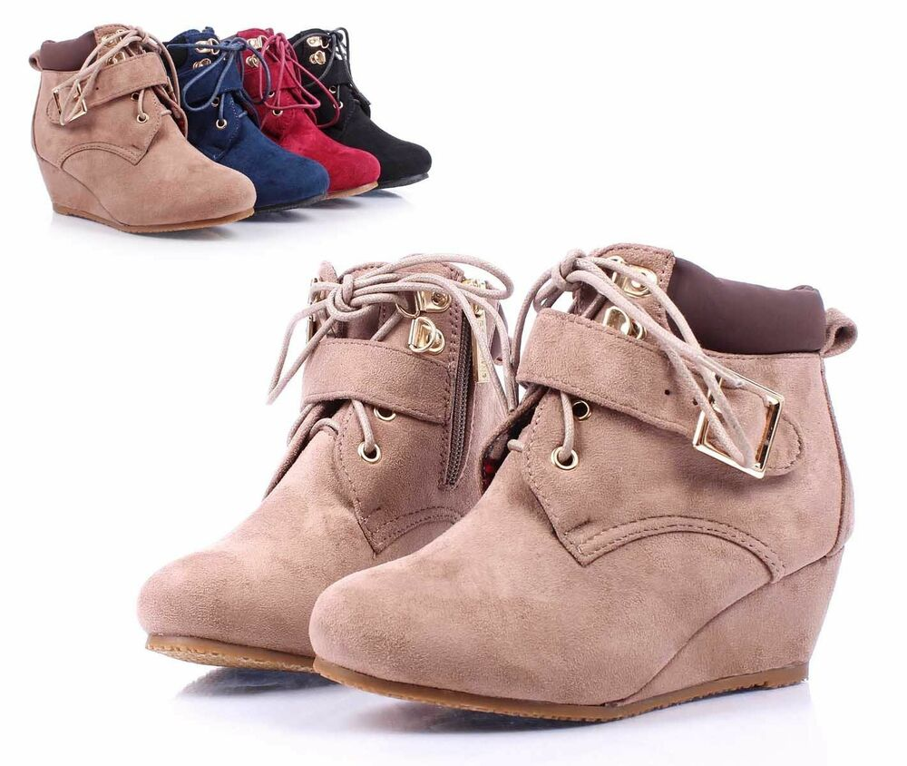taupe lace up wedge high heels youth ankle